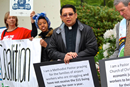 The Rev. Mark Galang (second from right) joins a demonstration advocating a living wage for workers at the Seattle-Tacoma International Airport. Courtesy of Mark Galang 2017.
