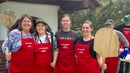 As the Hamline Community Bread Oven pizza bakers, the Rev. Nancy Victorin-Vangerud, left, and Hamline students learn skills of hospitality and baking for their neighborhood. Courtesy photo