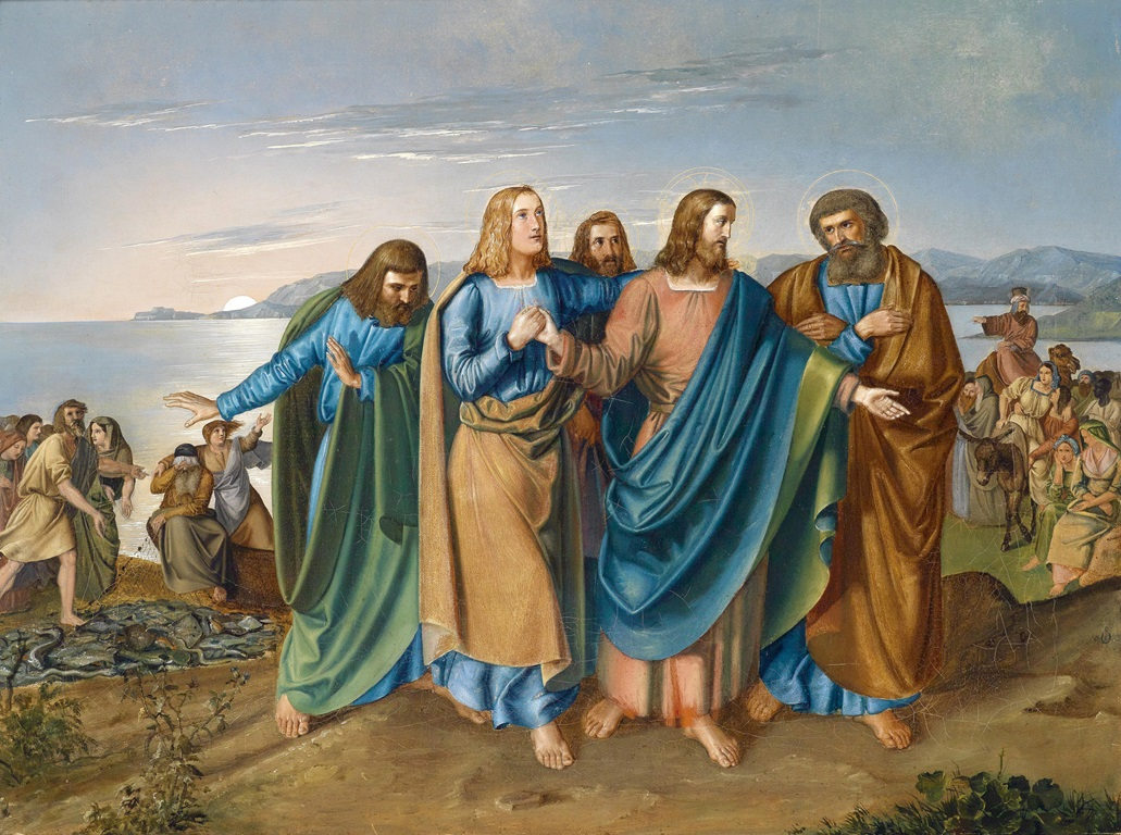Painting of Jesus and his Disciples on the Sea of Galilee dated 1833 by Carl Wilhelm Friedrich Oesterley courtesy of Wikimedia Commons. German art historian, painter and university teacher. Private collection. Wikimedia Commons.