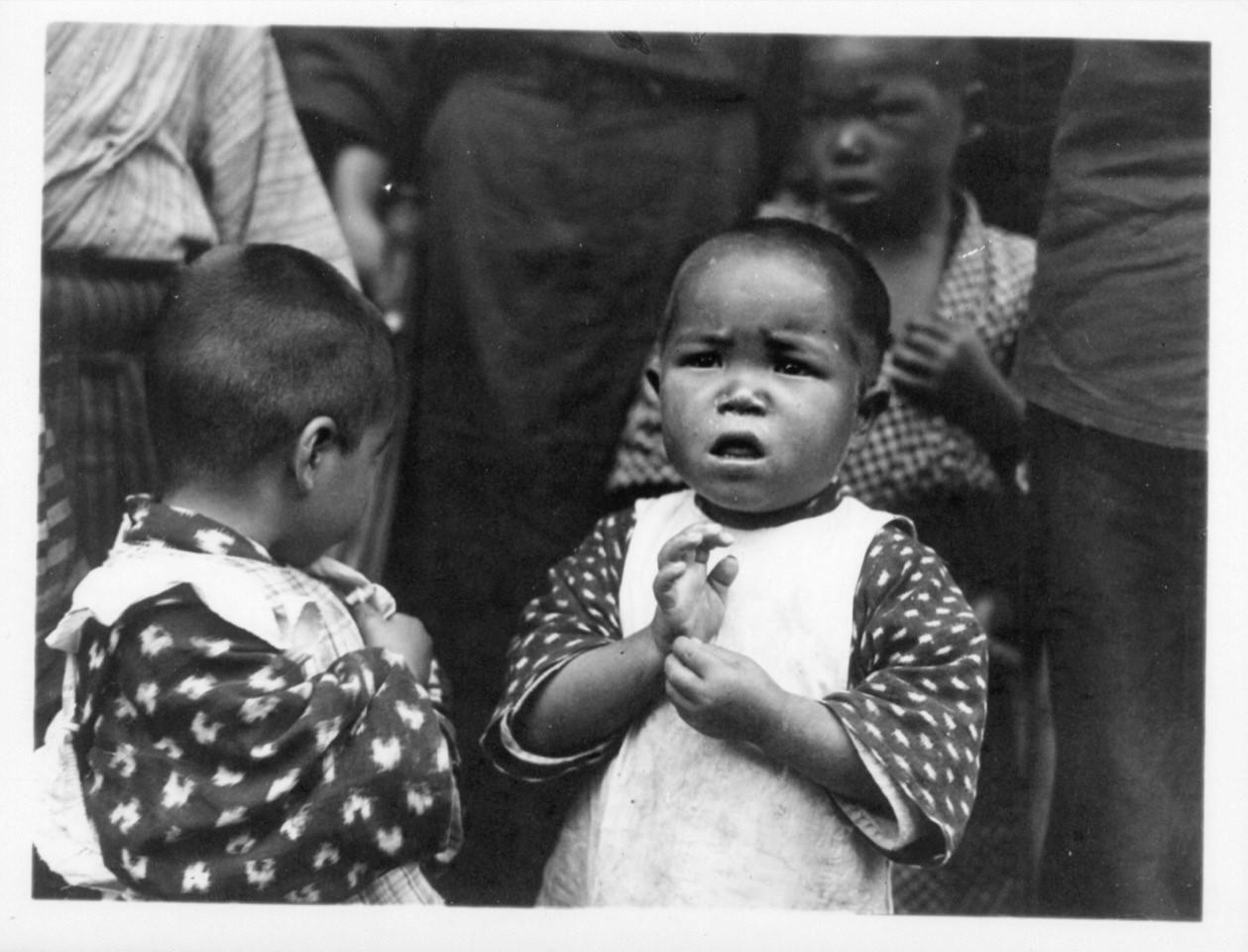 Kindergarten survivors of Hiroshima in 1946, Japan. PHOTO: RICHARD BAKER/WORLD OUTLOOK, GENERAL COMMISSION ON ARCHIVES AND HISTORY