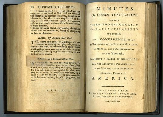 """Photo courtesy of Bridwell Library Special Collections, Perkins School of Theology, Southern Methodist University.  The first Book of Discipline was adopted in 1784 at the historic Christmas Conference. It was titled """"Minutes of Several Conversations Between the Rev. Thomas Coke, The Rev. Francis Asbury and Others."""""""