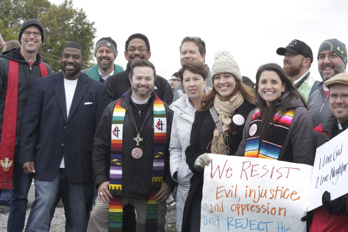 About 20 United Methodists joined a crowd of about 350 counterprotesters who lined Church Street in Murfreesboro, Tenn., on Oct. 28, where a white supremacist rally was expected. The white supremacists canceled the Murfreesboro rally after their first rally in Shelbyville, Tenn. Photo by Kathy L. Gilbert, UMNS.