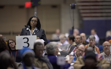 Delegate Gail Douglas-Boykin from the New York Conference speaks during the 2019 United Methodist General Conference in St. Louis on Feb. 25. Photo by Paul Jeffrey, UMNS.