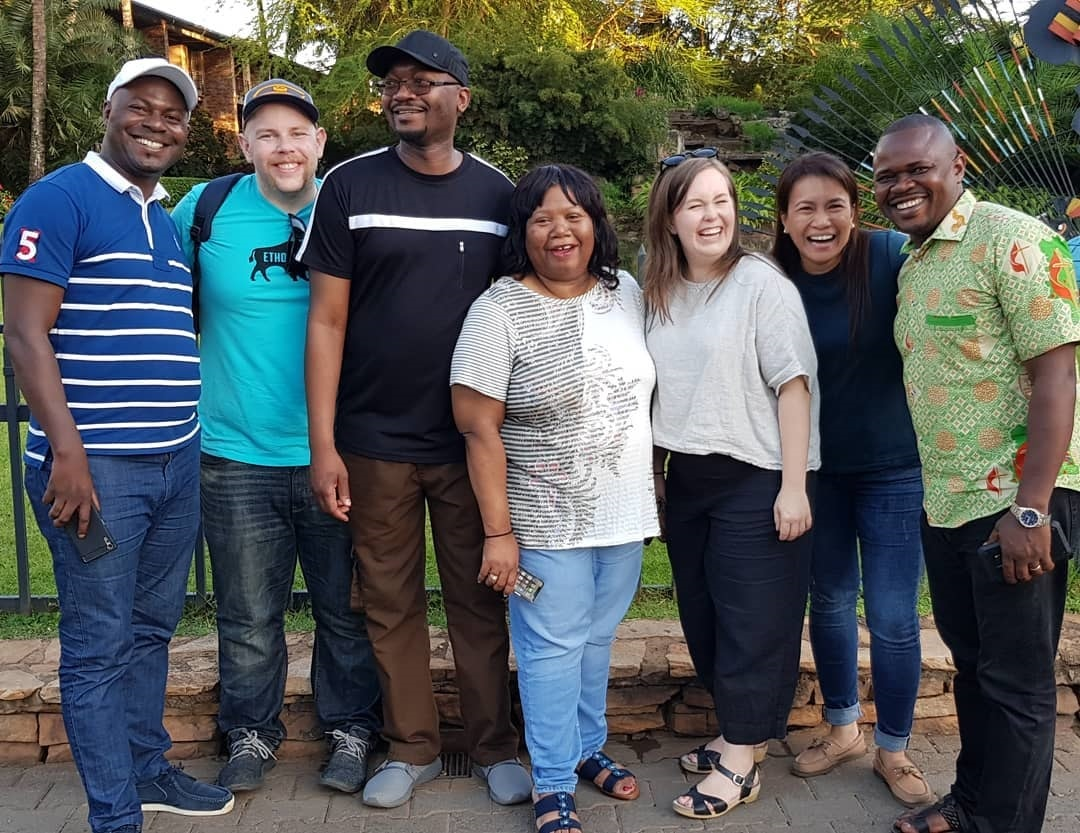 UMCom's Global Communication Technology team recently met in Uganda for a series of meetings, including the global ICT4D Conference. (Pictured (l-r): Pacome N'gessen, Matt Crum, Chilima Karima, Shelia Mayfield, Ashley Gish, April Mercado, Pierre Omadjela). Photo courtesy of Ashley Gish.