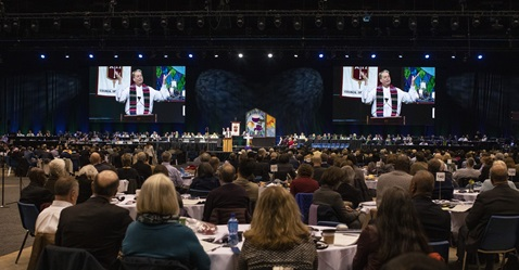 The caption for the attached photo is: Bishop Kenneth H. Carter gives the sermon and benediction during opening worship for the 2019 United Methodist General Conference in St. Louis. Photo by Kathleen Barry, UMNS.