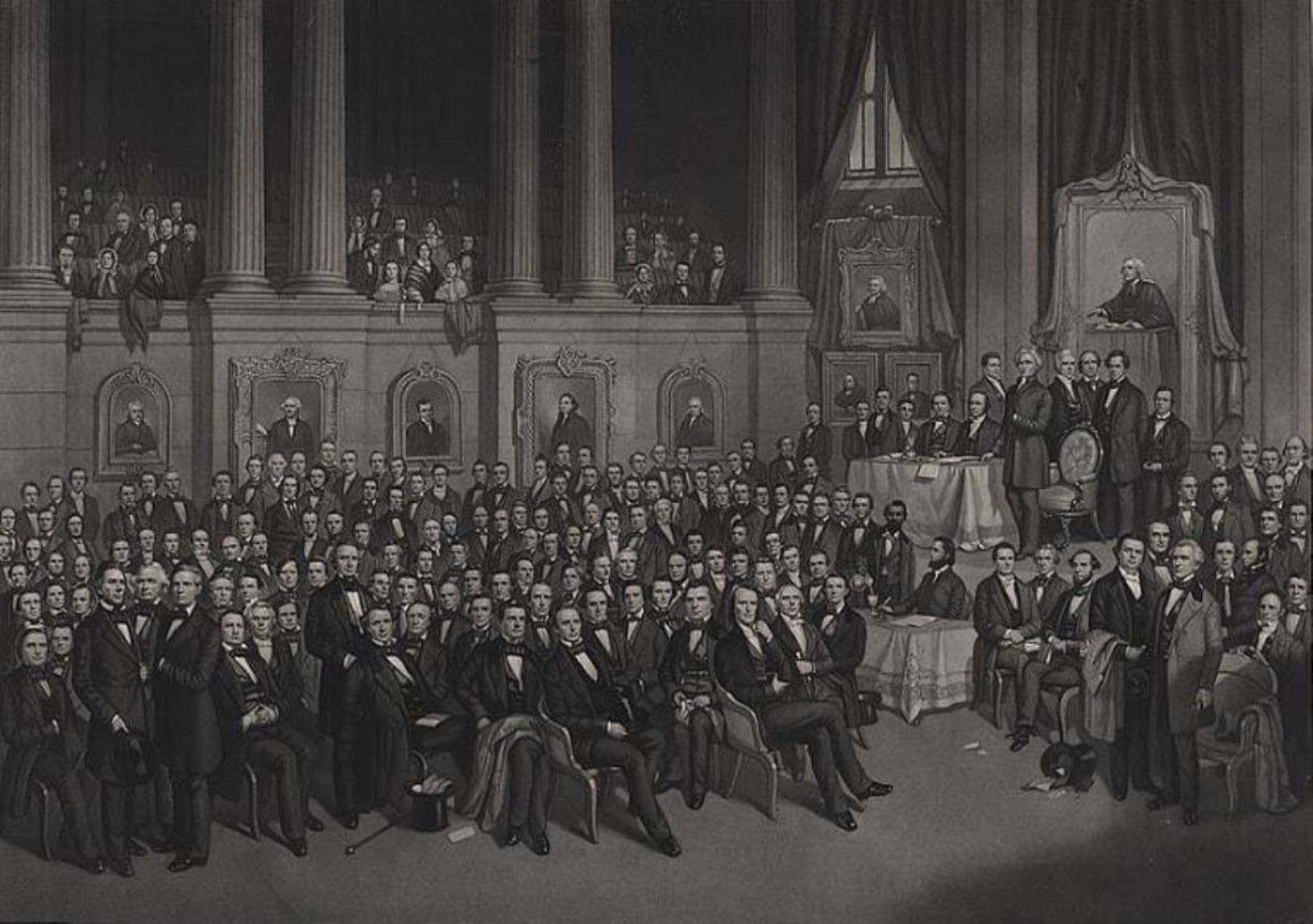 1858년 5월 테네시주 내쉬빌에서 열린 남감리교회 총회 모습. 사진 출처, 미국 의회 도서관 LC-DIG-ppmsca-07829