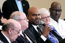 """The Rev. Junius Dotson (holding microphone), speaks during a livestreamed panel discussion in Tampa, Fla., with members of the team that developed the """"Protocol of Reconciliation & Grace Through Separation."""" $39 million is set aside in the plan to go to minority churches. """"The idea was … to make clear that the church has a commitment to these communities of color,"""" Dotson said. Photo by Sam Hodges, UM News."""